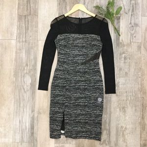 Vince Camuto sheer cocktail long sleeve dress sz 4